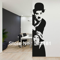 Free shipping CHARLIE CHAPLIN CINEMA Wall Art Sticker Decal DIY Home Decoration Wall Mural Removable Bedroom sticker 24x95cm