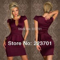 6 Colors M L XL Lowest Price Pencil Formal Office Lady Work Dresses U neck OL Peplum Dress  LC2774