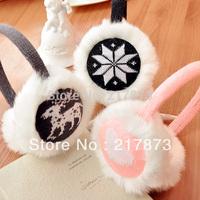Headset 2014 new winter Fashion Love Snowflake Fawn Plush Music headphones wire Plush Ears warm Earmuffs Phone Headset 100g