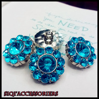 Free shipping_(50pieces/lot)2014 new high-quality classic  clean and clear blue rhinestone buttons 22mm / handmade DIY