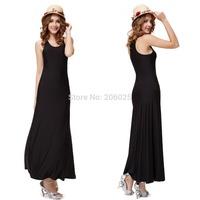 HE09931 Sexy Sleeveless Scoop Neck Ladies Long Black Casual Dress