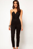 hot sale Black Sexy Jumpsuit with Pleated Bust Origami Detail sexy women overalls plus size XXL macacao feminine sexy costumes
