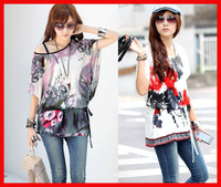 New 2014 hot sale fashion summer blouse women tops slim loose casual Bat sleevet tiger flowers print high street t shirts women