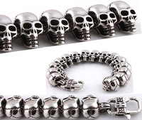 2014 NEW personality bracelet for man titanium steel cool skull charm bracelets bangles Fashion men retro jewelry free shipping