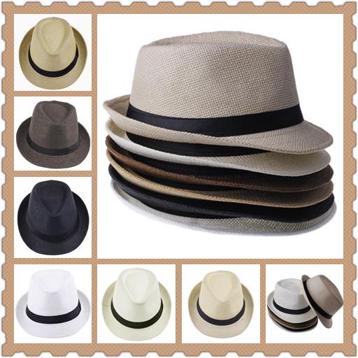 1pc Unisex Women Men Casual Trendy Beach Sun Straw Panama Jazz Hat Cowboy Fedora Gangster Cap with Black Ribbon 6 Colors(China (Mainland))
