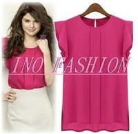 Hot On Sale 2014 Summer Butterfly Short Sleeve O-Neck Top Tees Chiffon Women Clothing Shirt Blouse Plus Size 3 Colors