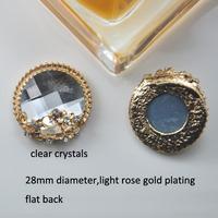 (M0739) 28mm diameter rhinestone embellishment ,light rose gold plating,clear or champagne crystal,flat back