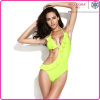 RELLECIGA 2014  Swimwear Stylish Neon Green Asymmetric Style Cut-out One-piece Swimsuit with Flirty Ruffle Trim
