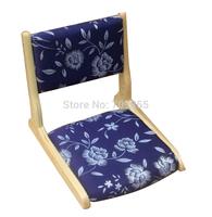 TA30-1  (2pcs/ lot) japanese zaisu tatami foldable chair in natural finish, dark blue fabric