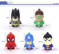 Real capacity Super man Group Batman Captain America Flash Drive 8GB 16GB 32GB U Disk USB 2.0 Memory Flash Pen Thumb Drive Stick