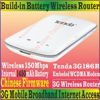 ChineseFirmware Tenda 3G186R Portable N150 150M Travel 3G wifi Router modem with sim card slot for WCDMA Network Battery Powered