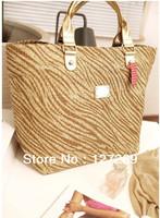 2014 New Arrival Women's Fashion Zebra Stripe Handbags Large Straw Bag BG0059 Free Shipping