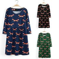 New 2014 Plus Size Women Clothing Half Sleeve Mini Autumn Winter Women Dress O Neck Animal Fox Print Cotton Dresses Casual Dress
