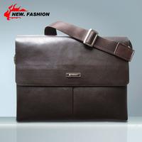 Promotion!! Brand New 2014 Arrival Men Genuine Leather Messenger Bags Man Brand Shoulder Bag Vintage IPAD Bags Brown NO1955