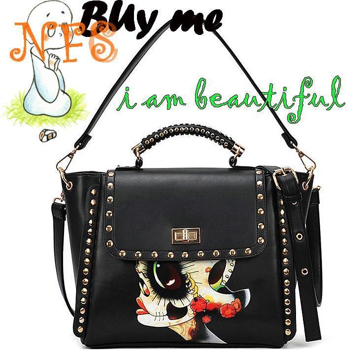 National 2014 trend rivet briefcase shoulder bag handbag women's handbag colored drawing bag punk bag(China (Mainland))