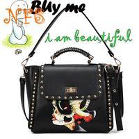 National 2014 trend rivet  briefcase shoulder bag handbag women's handbag colored drawing bag punk bag