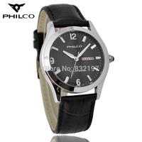 Philco inveted 5.5 steel genuine leather strap mens watch luminous quartz male watch