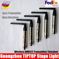 Freeshipping 5pcs/lot 2.4Ghz Stage Light wireless receiver transmitter DMX remote Controller 1pcs Transmitter + 4pcs Receiver
