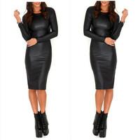 Sexy Women PU Dress Leather Look Long Sleeve Crew Neck Midi Party Dress Clubwear Black