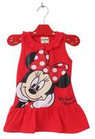 Retail New 2014 Baby Girls 2-6Yrs Summer Dress Girl Cute Minnie Mouse Sleeveless Dress Kids Casual Dress