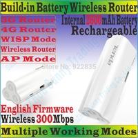EnglishFirmware TENDA 4G300 Wireless 300Mbps 3G 4G Portable Router 300M Travel WiFi Internal 2600mAh Power Bank TD/FDD-LTE Modem