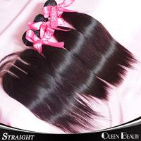 3 Part Lace Closure With Virgin Brazilian Straight Hair Bundles 4Pcs Lots,Remy Human Hair Weave Natural Black Hair,Shipping Free