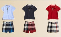 2014 new summer Autumn winter children clothing baby boys clothing set POLO t-shirt pants plaid boys jeans pants trousers