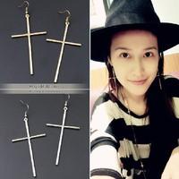 Trendy Jewelry new 2014 fashion  sale gold plated cross dangle earings for women E092
