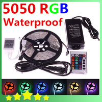 5050 5M 16.4ft Waterproof RGB LED Flexible Strip 300LEDs + 24Key IR Remote Controller + 12V 6A Power Adapter Free Shipping