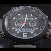 High Quality Men Analog Digital Colorful Led Watch Full Steel Bracelet Clocks Military Sport Watches Man Stop Wristwatch