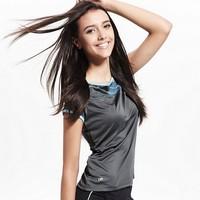 High Quality 2014 New Women Quick-drying T shirt Womans Sport Yoga Fashion OL Tops Tee Blouses Gray Casual Print Camiseta Hot