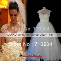 2015 Real Photos Pearls Puffy A-line Amanda Brides Cap Sleeves Wedding Dresses New Fashion NS521 vestido de festa longo