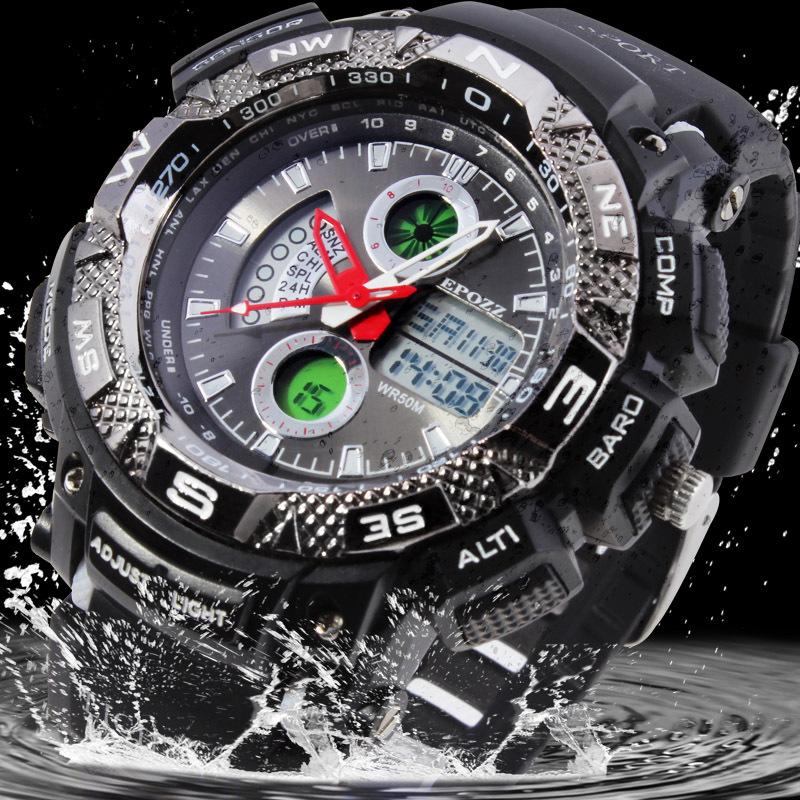 EPOZZ Men Sports Watches Military Digital Watch Relogio Masculino Relojes Deportvio Quartz Silicone Anti-Frozen Dive Watch 5ATM(China (Mainland))