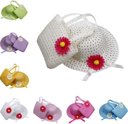 Lovely Sunflower Kids Girl Casual Children Beach Sun Straw Hat Cap + Straw Tote Handbag Bag Set fit 1-4 Years child(China (Mainland))