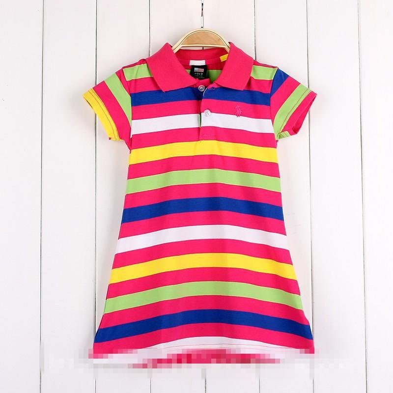 New Summer Brand Children Polo Dress Infant/Baby Girls Polo Dress Striped Children/Kids Princess tennis Sports Dresses(China (Mainland))