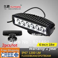 "Free shipping 2pcs 6"" 18W cree LED Work light Working Driving Lamp Spot Flood Truck SUV ATV Off-Road Car 12v 24v Black White"