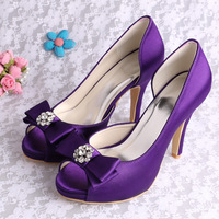(15 Colors)High Heels Women Pumps Purple Wedding Shoes Peep Toe with Bowknot Free Shipping
