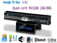 Newest Quad Core RK3188 1.6GHz Adnroid 4.2 TV Box V3II 2GB/8GB Built in 5.0MP Camera MIC RJ45 Bluetooth WIFI DLNA set to box
