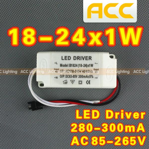20pcs 18-24W LED Driver Input 85-265V Output 36-68V 300MA 50/60Hz 12-24W High Power LED Driver For LED Light Free shipping(China (Mainland))