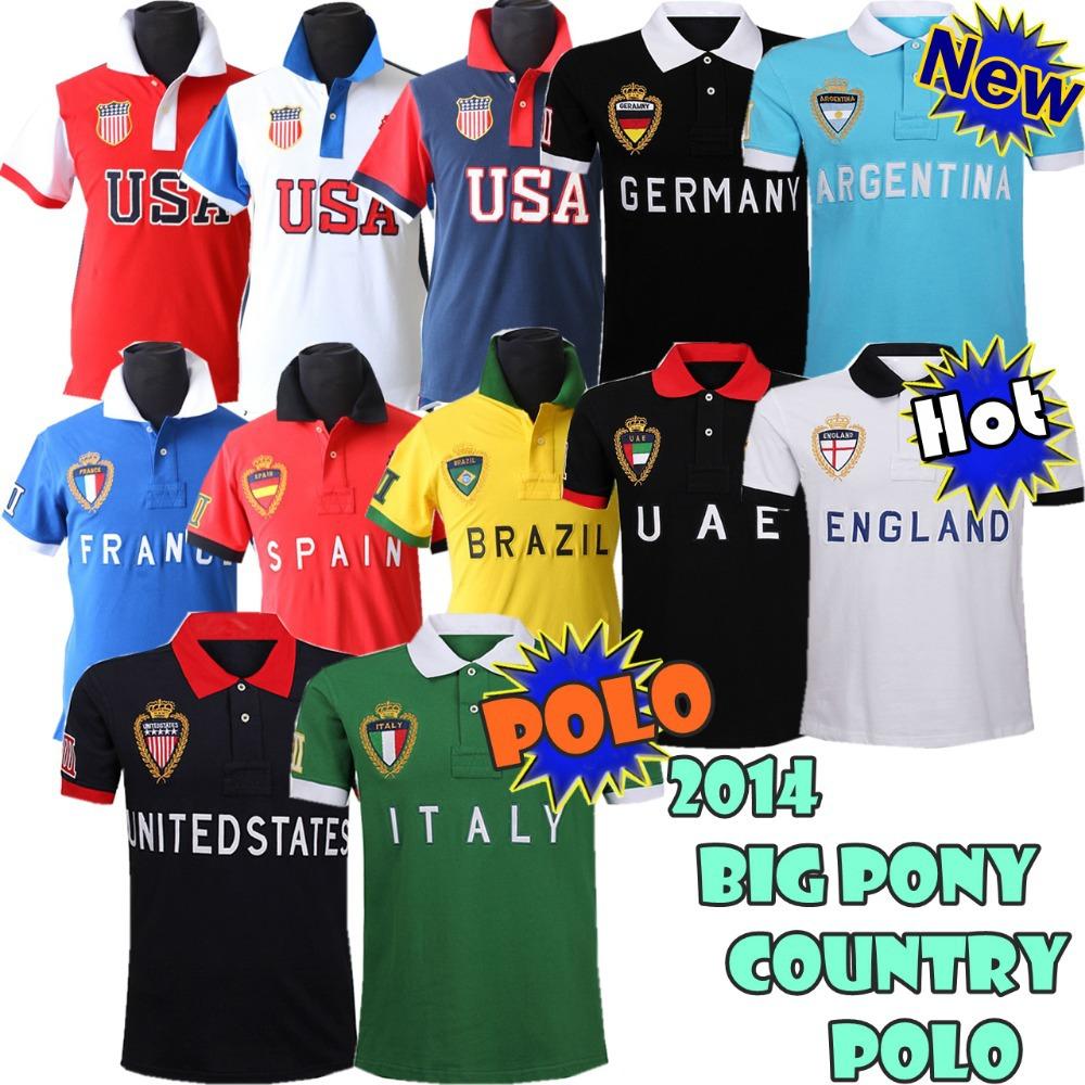 New 100% Original R-L---2014 New fashion Men Country Flag tshirt,CASUAL Men soccer t shirt /100% cotton, embroidery Log(China (Mainland))