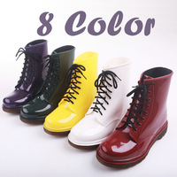Wellington Rubber Rain Boots Womens Festival Jelly Wellies Low Ankle Summer Lace-up Waterproof Gumboots Martin  Shoes Size