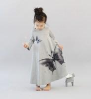 Retail 1pcs free shipping top quality girls fashion dress cotton print butterfly dancing long design t-shirt fit 2-10yrs