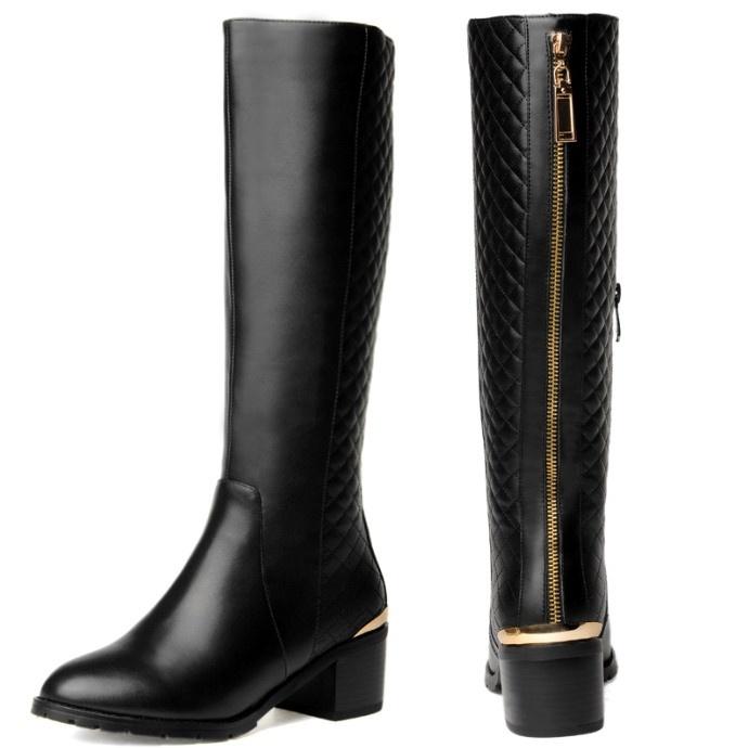 Zip Golden decorare 2014 nuovo qualità moda primavera scarpe invernali donne in vera pelle stivali casual stivali alti al ginocchio, dimensioni 33-43