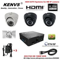 surveillance Security NVR 3*960P HD IP CAMERA Dome camera CCTV IP CAMERA KIT icloud P2P CCTV System HDMI 1080P 4CH FUII NVR