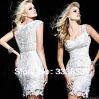 Hot Sale 2014 New Arrival Fashion Lace Pearl Short Sheath White Evening Dresses Women OL2093