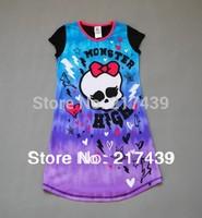 Free shipping Monster High girl girls short sleeve Purple nightgown sleep dress nightie sleepwear pajamas 9 pcs/lot LAST 3 LOTS
