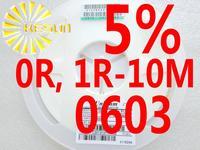 5000PCS 0603 Resistor 0R , 1R - 10M 5% 1/10W SMD Resistor 0603 Chip Resistors