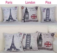 """Free shipping high quality linen vintage cushion cover/pillow cover for sofa """" Eiffel tower"""" """"Pisa"""" """"London Big Ben"""" 45*45cm"""