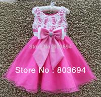 Wholesale  princess girl dress, baby girl dancing dress with hot pink  bow 6pcs/lot  9276