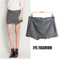 JYL FASHION 2014 Spring European style irregular skirtline split draped gray stripe patterned shorts woman,stylish shorts women
